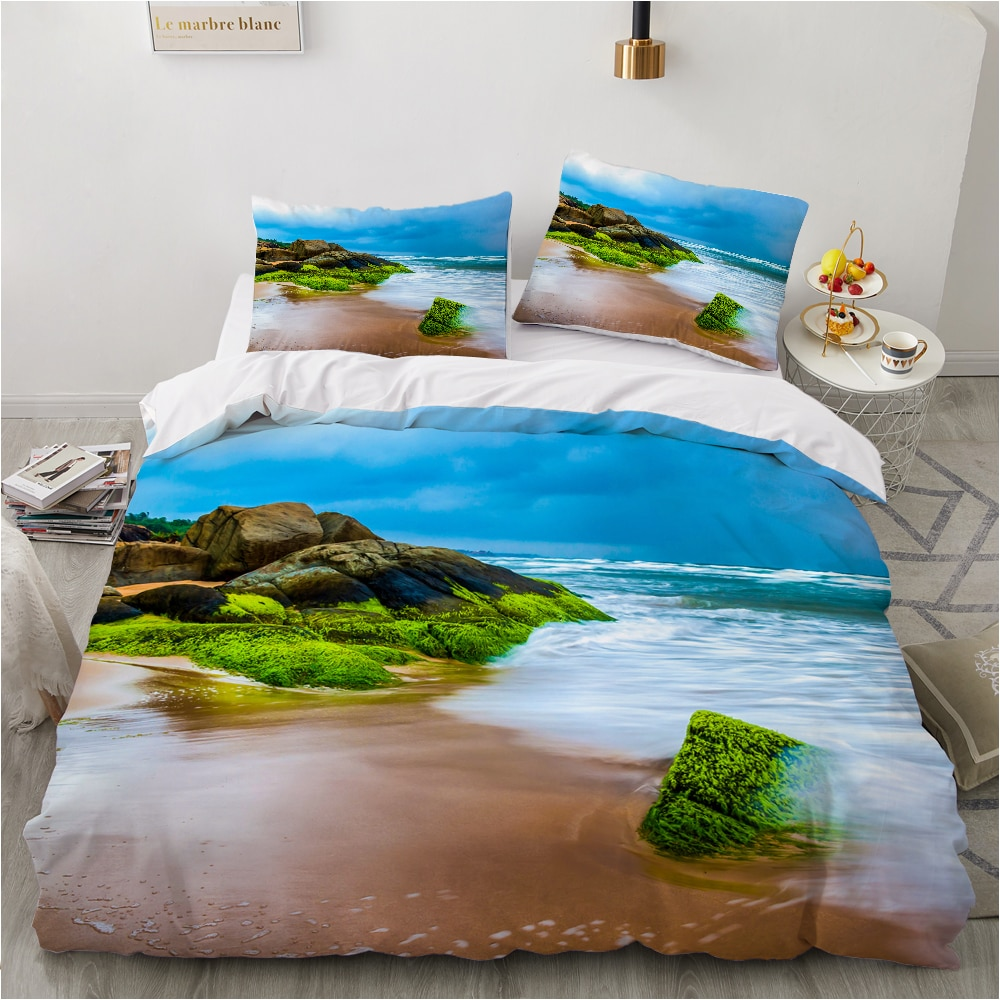 روسيا حجم طقم سرير مجموعات الأسرة اليورو 2.0 مجموعة غطاء لحاف مع ورقة 4-7 قطعة أغطية سرير 2x Sp المشهد البحر