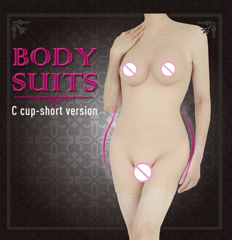Short Version Silicone Breast Forms C Cup Boobs Whole Body Suits for Drag Queen Crossdresser Shemale Men Bodysuit Sexy Corset