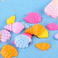 20pcs colorful ocean star conch shells ornament mini crafts micro landscape miniatures fairy garden decor fish tank accessories