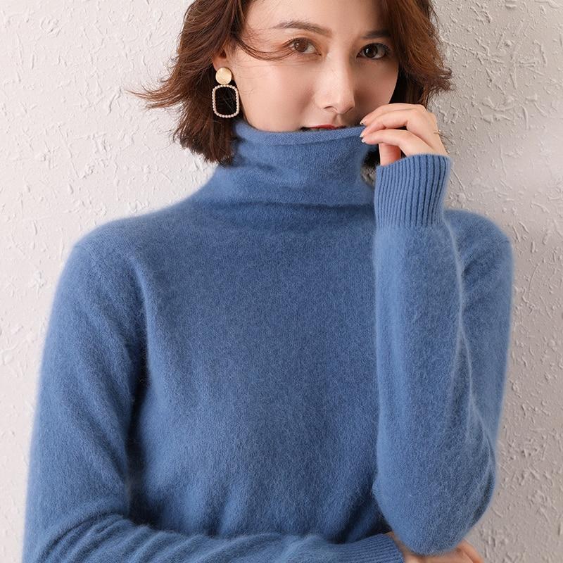 Suéter de cuello alto camisa de lana de la cabeza de las mujeres Otoño e Invierno párrafo corto salvaje grueso cálido tejer al fondo de visón de Cachemira