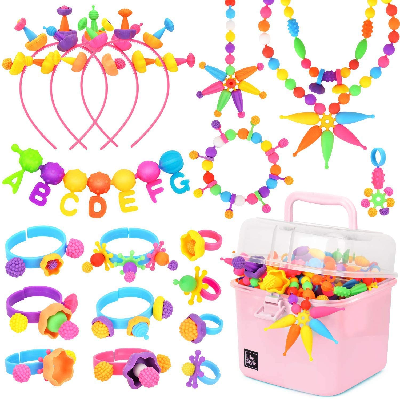 600 Uds Pop Beads, Kit de fabricación de joyería DIY-Juguetes de artes y manualidades regalos para niños de 3 años r-8yr, 1 Kg Pop Snap Beads Set Making Neckla