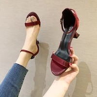 new fashion high heels womens one line buckle sandals sexy thin heel summer red ladies shoes teenslippers women sandalias mujer