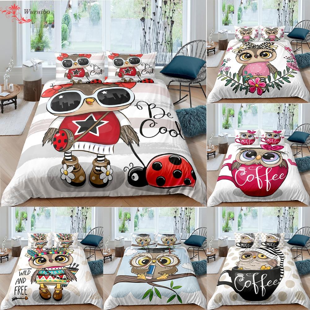 Homesky-طقم أغطية سرير برسومات بومة للأولاد والبنات ، لطيف ، غطاء لحاف ، غطاء وسادة ، مقاس فردي ومزدوج ، 2/3 قطعة