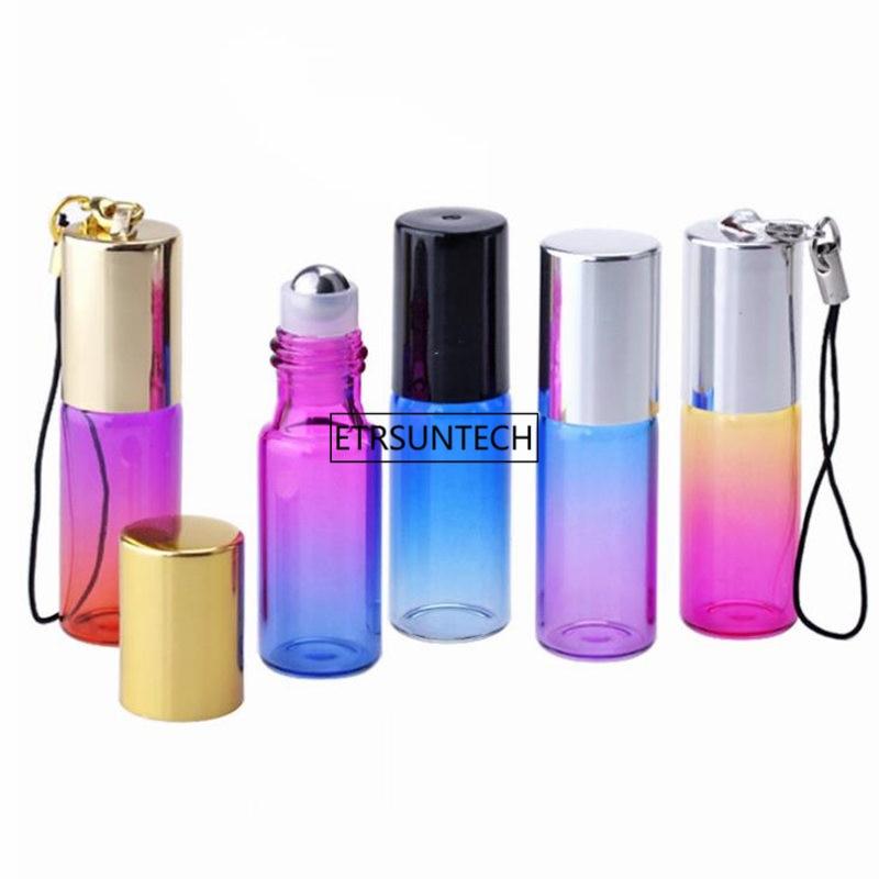 200 piezas. 5ml gradiente Color aceite esencial botella de Perfume vacía 5cc rodillo bola de vidrio grueso rollo duradero para viajes F3318