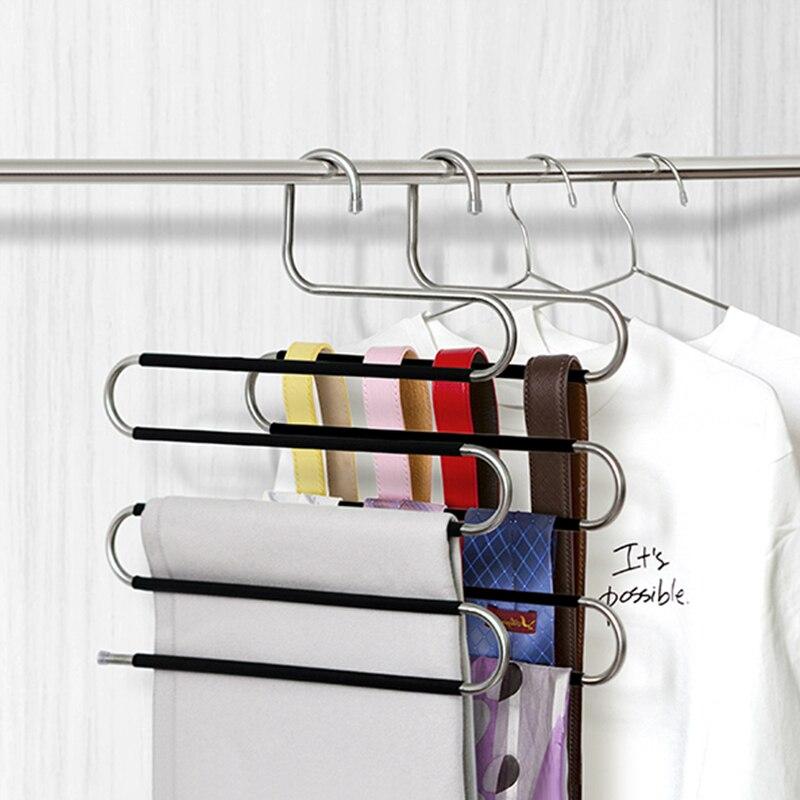 Cabide multifuncional de 5 camadas, calça organizadora de pano e roupas, armazenamento, prateleira suspensa, antiderrapante