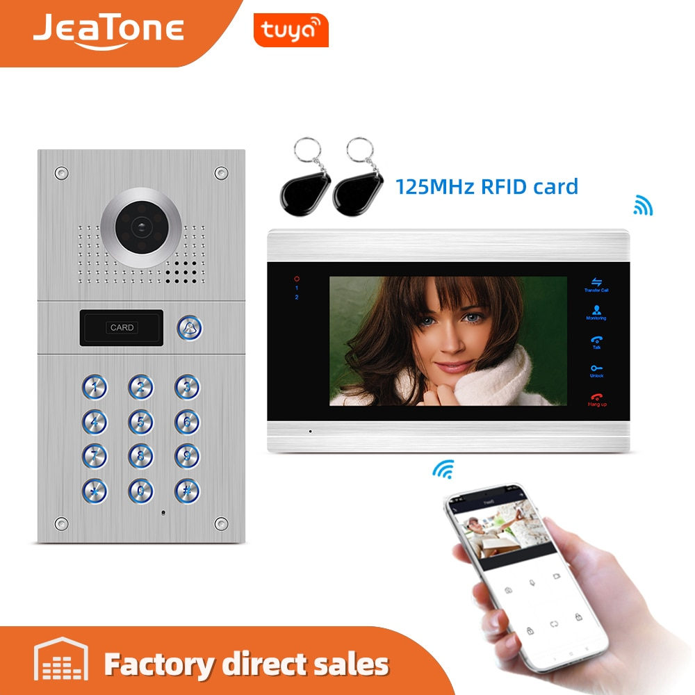 Jeatone 7 WIFI Smart Tuya Video puerta teléfono sistema de intercomunicación con 720P/AHD timbre de grabación, soporte iOS/Android desbloqueo remoto