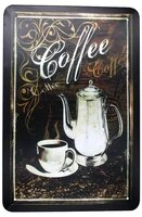 vintage coffee metal tin sign tin poster art vintage style wall ornament coffee decor size 8 x 12