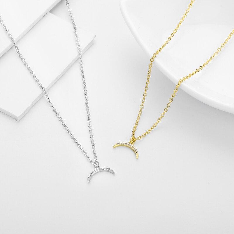 ¡Novedad de 2020! Collar pequeño de cristal con colgante de luna de alta calidad de Mirco, collar con dije de Luna para mujeres y niñas