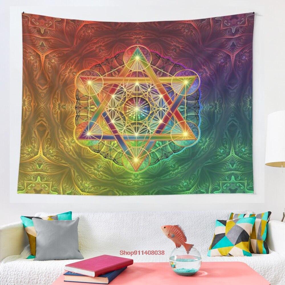 Metatron s-سجادة حائط ملونة مع Merkabah ونمط زهرة الحياة ، معلقة مخدر ، سجادة يوجا