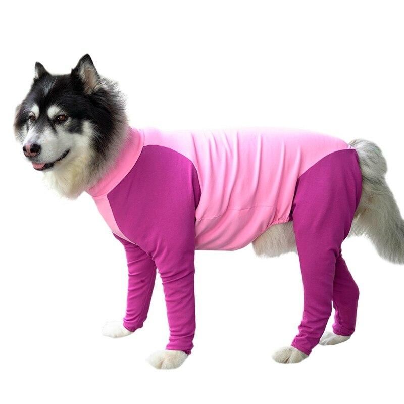 Roupas para animais de estimação cão vestir suprimentos alta elasticidade anti-queda de cabelo grande cachorro quatro patas macacão azul/roxo em pó
