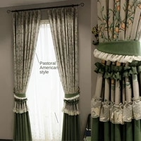 as new american retro pastoral yarn shading light luxury simple printing home decoration curtains for living dining room bedroom