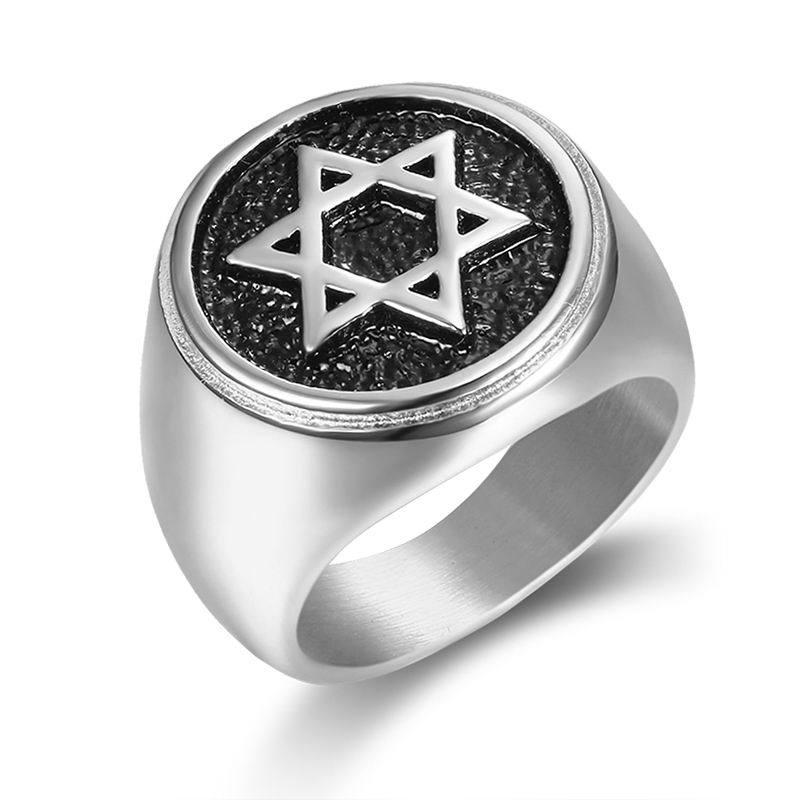 Simples retro hexagrama estrela de david anel para homem menino de aço inoxidável cor prata ouro anéis dedo punk masculino jóias