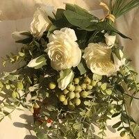 Bouquet de roses et deucalyptus artificielles  1 bouquet de fleurs  pour decoration de mariage  maison  bricolage  haute qualite  grand bouquet  accessoires en mousse  artisanat deco