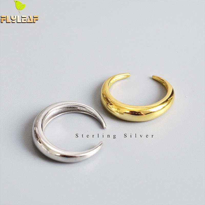 14k ouro real 925 anéis de prata esterlina para as mulheres arco suave crescente lua alta qualidade jóias finas femme anel aberto flyleaf