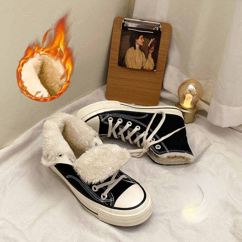 Unisex Canvas New Fashion Classic Shoes Plush Sport Shoes Autumn Winter Cotton Shoes Warm Casual Wom