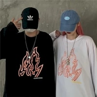 retro couple clothes t shirts flame printed tops harajuku tshirt oversized t shirt men clothing t shirts o neck casual tees