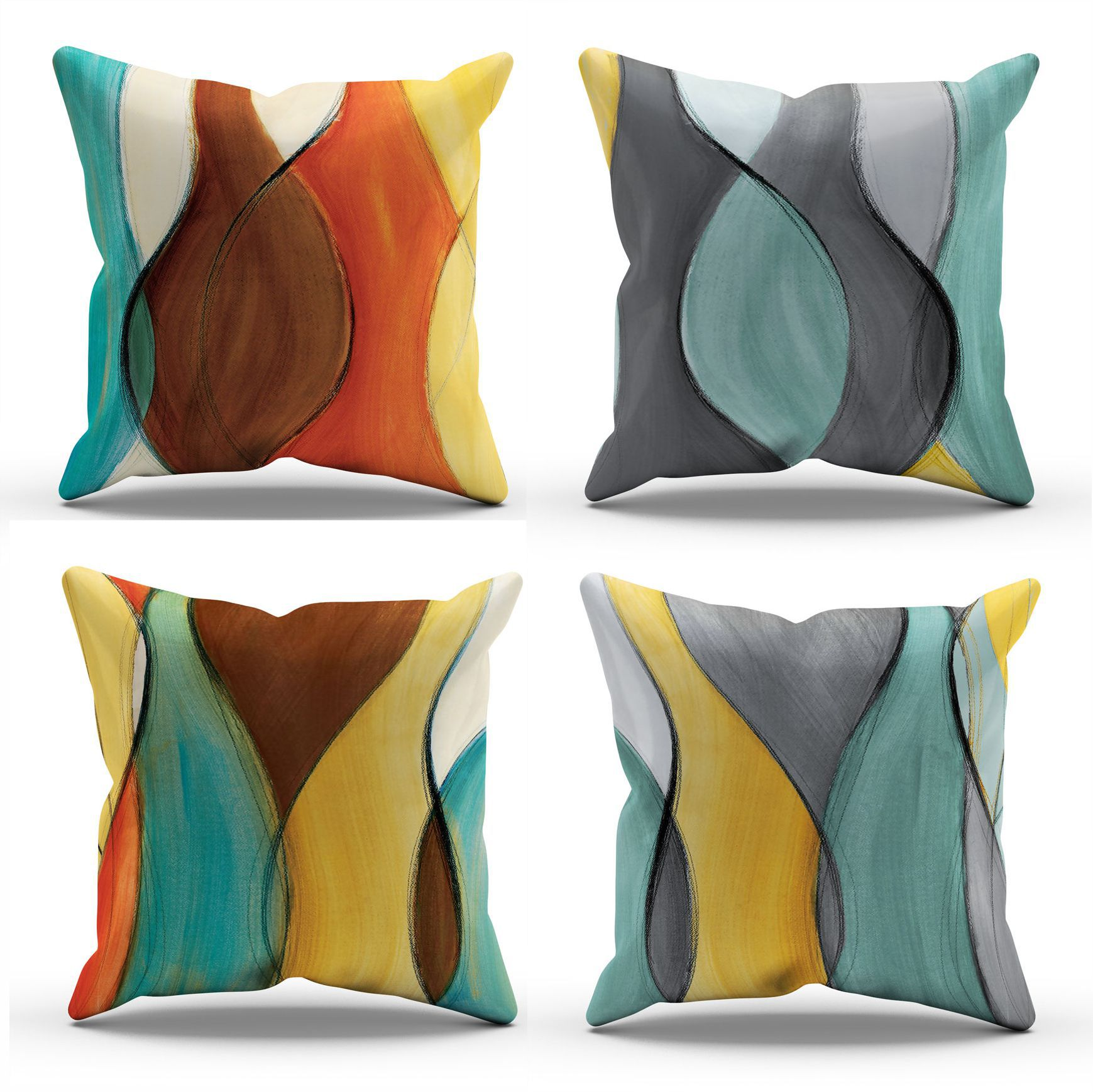 New Color Abstract Hand-painted Pillowcase Light Luxury Sofa Cushion Cover Design Suitable for Couch Living Room Car