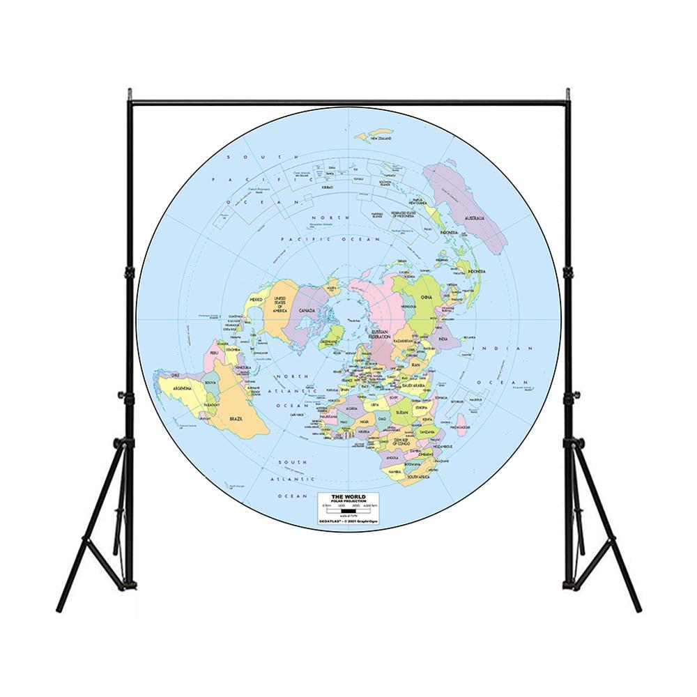 150x150 см карта мира с полярной проекцией, Нетканая карта мира с распылителем без запаха, Карта мира без национального флага