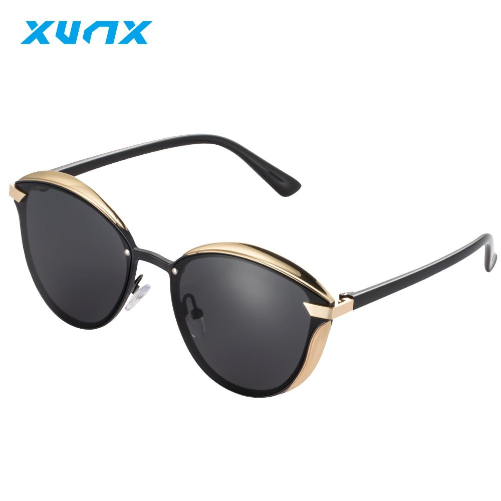 XunX X8017 Womens Polarized Glasses Photochromic Cat Eye Sunglasses Aluminum Magnesium Fashion Frame