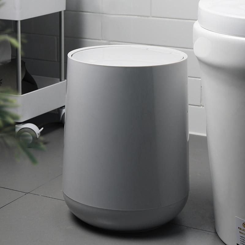 10L Creative Tumbler Trash Can European-Style Round Bathroom Trash Can Household Classification Trash Can Bathroom Accessories enlarge