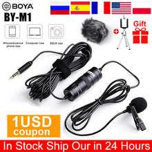 BOYA BY-M1 3,5 мм аудио-видео запись петличный микрофон с лацканами запись микрофона клип на микрофон для iPhone 12 12Pro Max 11 11Pro Max XR X XS MAX Huawei P30 P40 Plus Samsung ...