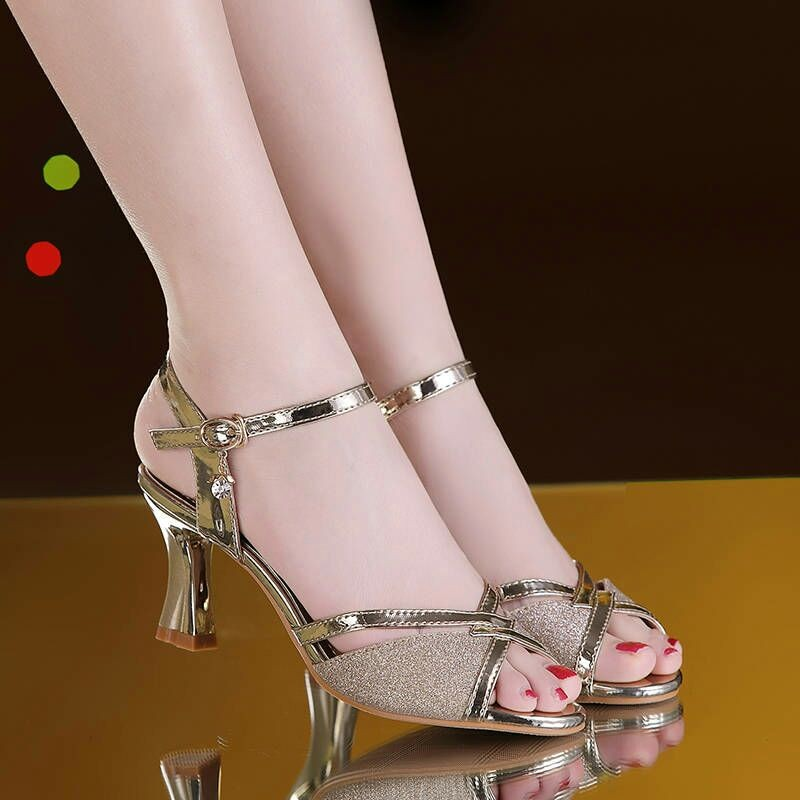 Women Summer Fashion Sandals Dress Shoes Female Bling Weddging Shoes Silver High Heels Pumps Ladies