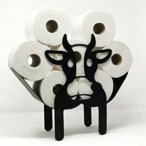 Black Cow Toilet Roll Paper Holder Free-Standing Bathroom Tissue Storage Gift