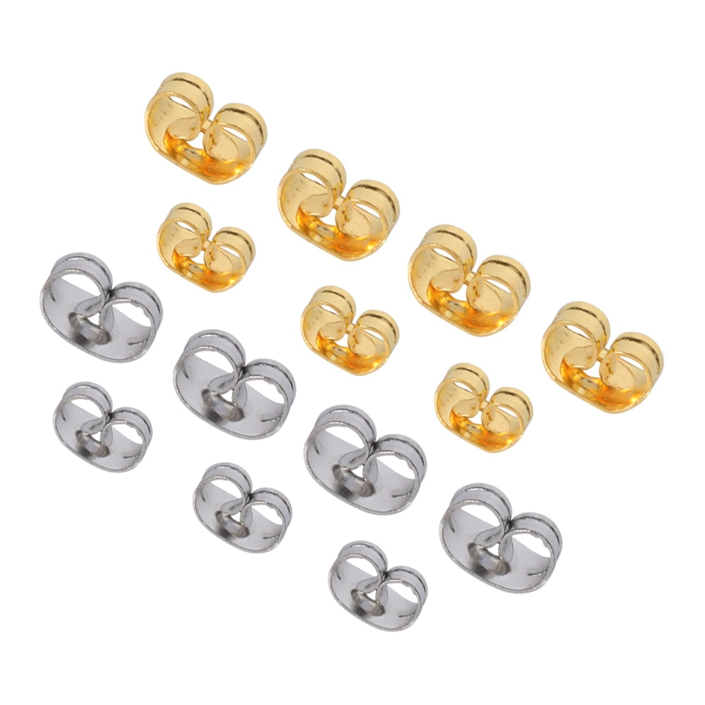 100Pcs/Lot Stainless Steel Earrings Back Stopper Ear Stud Butterfly For Diy Pin Caps Jewelry Making