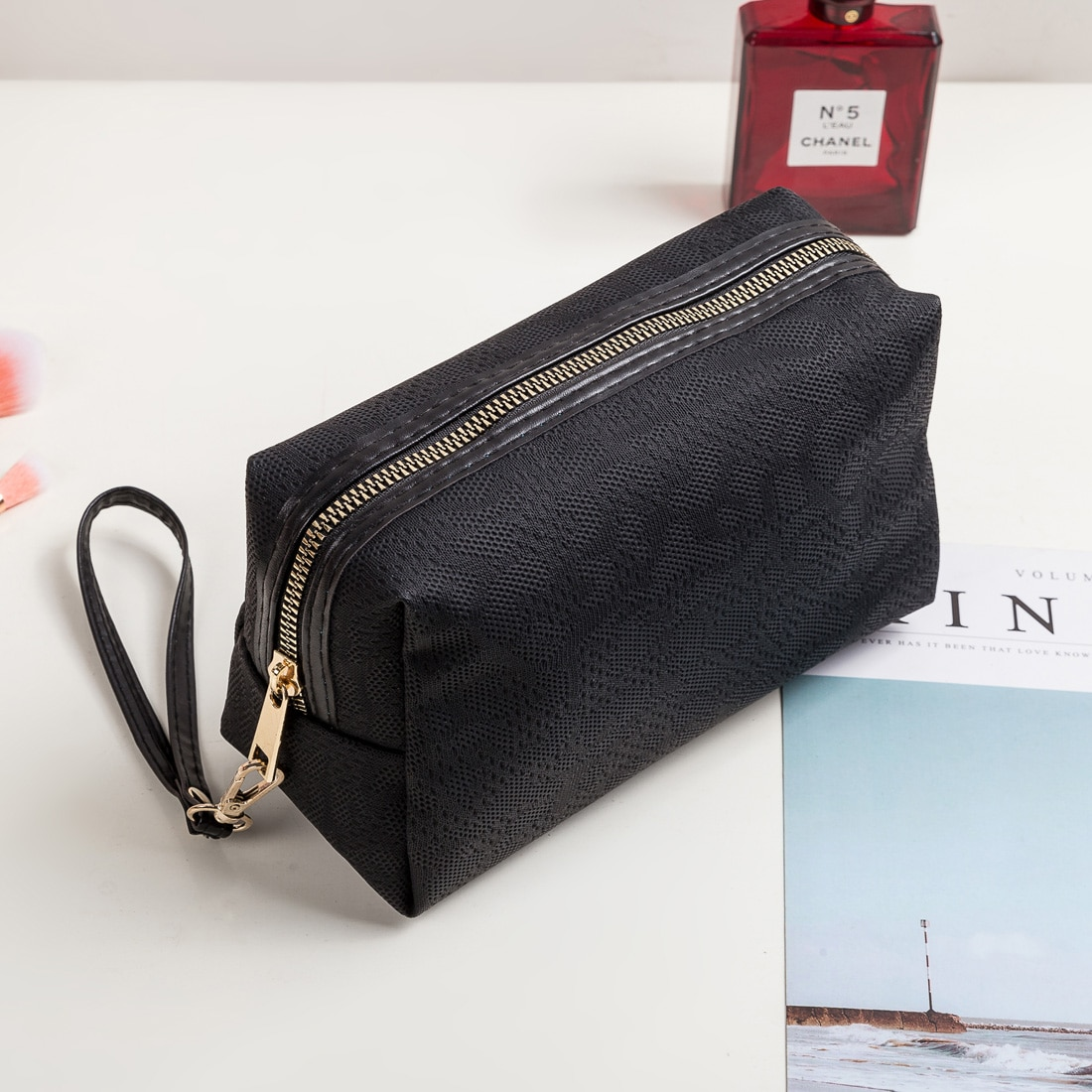 Beauty gran oferta bolso de maquillaje para mujer, bolsa de cosméticos para mujer, bolsa de brochas de maquillaje, gran capacidad, bolsa bonita barata, cosméticos, triangulación de envíos