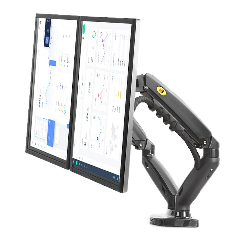 "2019 New NB F160 Gas Spring 360 Degree Desktop 17""-27"" Dual Monitor Holder Arm Full Motion Monitor Mount Bracket Load 2-9kg each"
