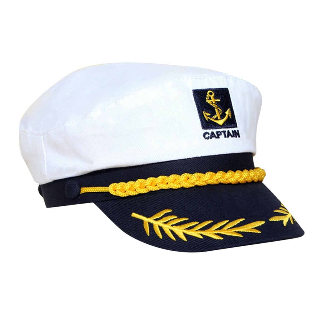 Sombreros blancos, yate, Capitán Navy, barco de capitán marinero, sombrero náutico militar, gorra de disfraz para adultos, fiesta, vestido de lujo 1 unidad