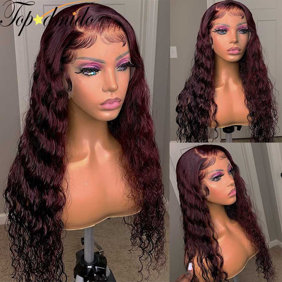Color 13x4 Lace Front Wigs 99j Pre Plucked Brazilian Wavy Human Hair Wig Dark Red 180% Density Remy Glueless Lace Wig for Women