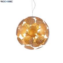 BOSHSBC złoty lotos liść dmuchawiec Globe wisząca lampa z żarówką luksusowa wisząca oprawa oświetleniowa nowoczesny talerz na owoce oświetlenie sufitowe