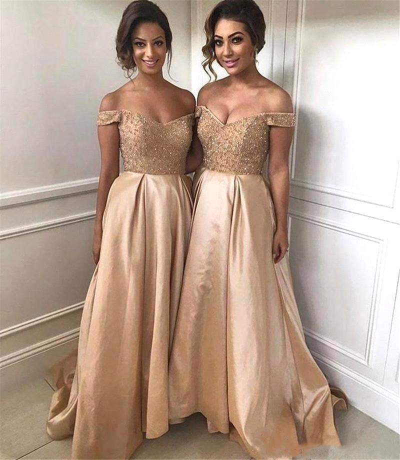 Vestidos de novia con hombros descubiertos, vestido de noche de satén con...