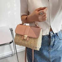 2021 designer straw crossbody bag women summer hand bags for beach bag patchwork leather sling bag portable small woven tote bag