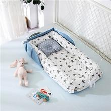 Cuna de bebé portátil, cama cuna extraíble lavable, cojín protector, parachoques, cama de viaje para bebé, cuna de algodón para recién nacido