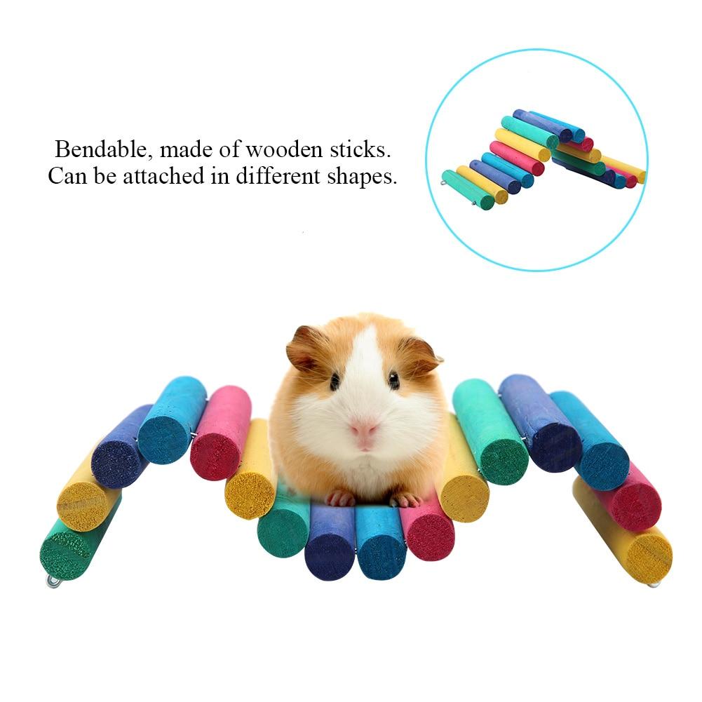 Escalera para hámster de madera colorida, puente para rata, escalera Gerbil, roedor, Pájaro de juguete, puente de madera, escalera, suministros para mascotas