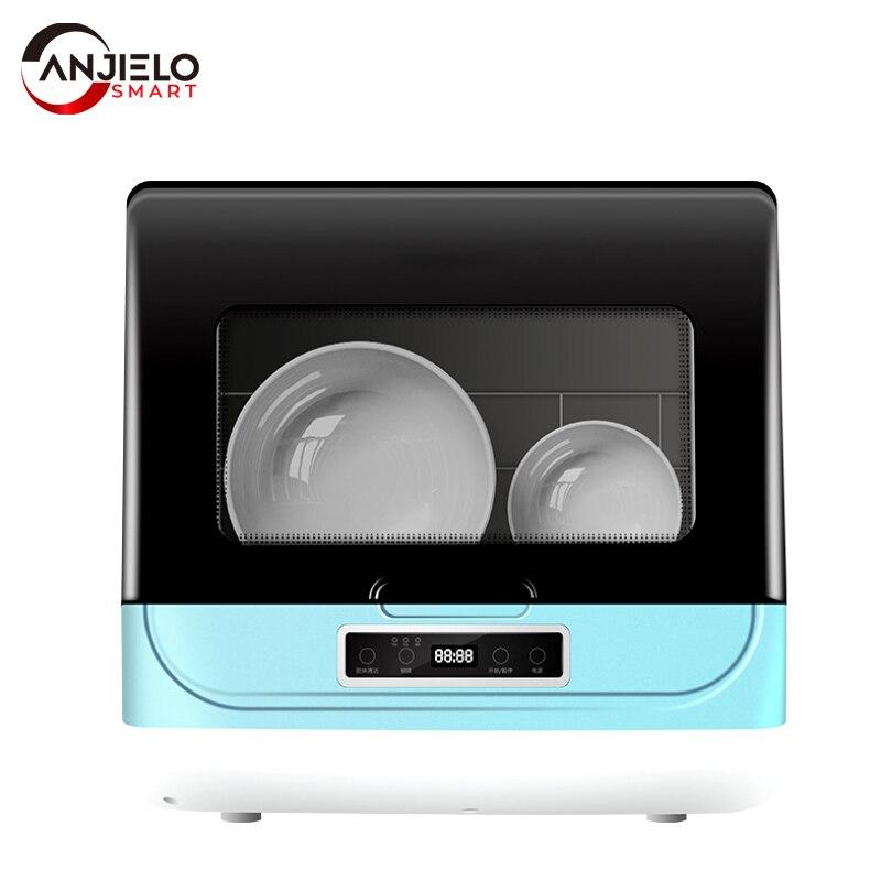 Anjielosmart التلقائي الذكي الكهربائية الصغيرة سطح المكتب تجفيف الهواء غسالة صحون ارتفاع درجة الحرارة التعقيم سعة كبيرة