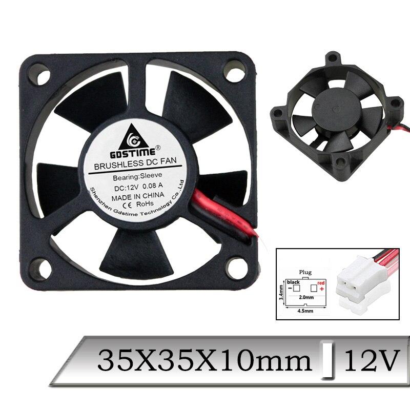 1 Uds 80mm 80 DC 12V 35x35x10mm 35mm 2Pin PH2.0 CPU sin escobillas ventilador de refrigeración Axial 3cm 3510S Mini 3D impresora ventilador refrigerador del radiador