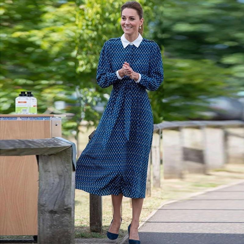 Kate Middleton المدرج جودة عالية 2021 الخريف المرأة الجديدة موضة حفلة خمر أنيقة أنيقة الأزهار فستان بكم طويل غير رسمي