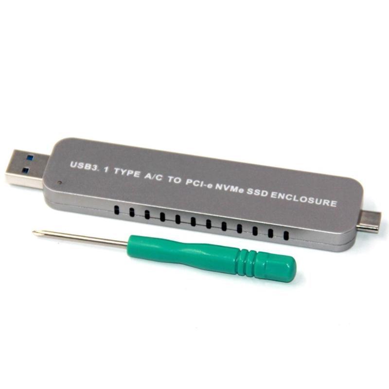 3 tipos usb 3.1 tipo-a/tipo-c para m.2 nvme ssd gabinete liga de alumínio m-chave adaptador pcie nvme caso portátil para nvme ssd