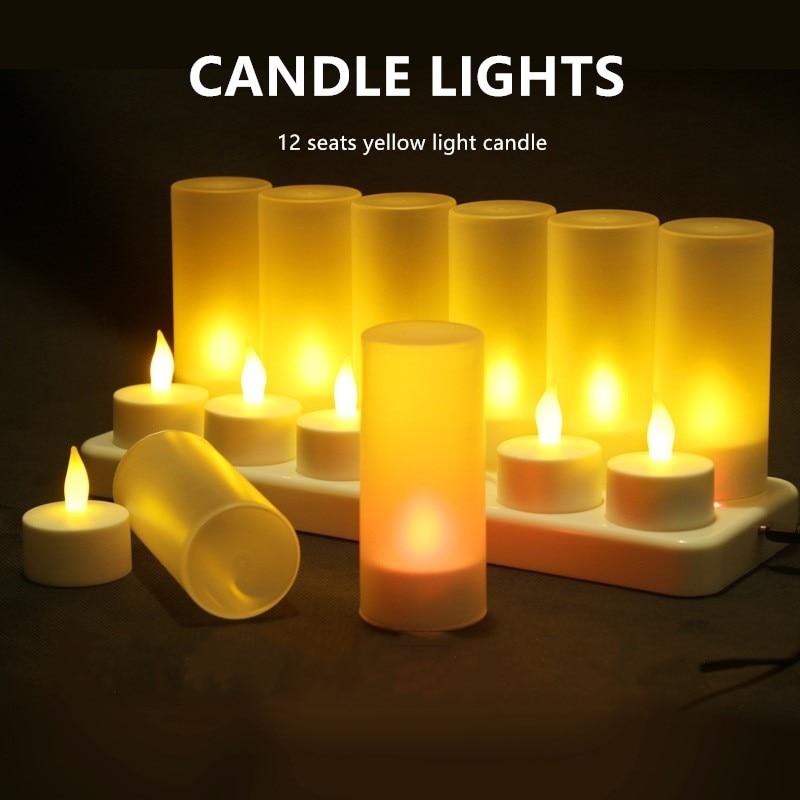 UE/REINO UNIDO/EE. UU./AU enchufe 12 luces de té LED parpadeantes recargables velas con soporte para la cena de boda partes bombilla LED en forma de llama