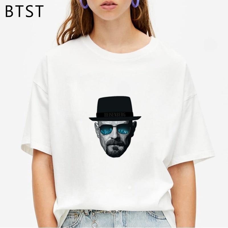 Heisenbergs Breaking Bad con sombrero gafas divertida camiseta de manga corta hombres mujeres camisa de gran tamaño Ulzzang Harajuku Chic camiseta