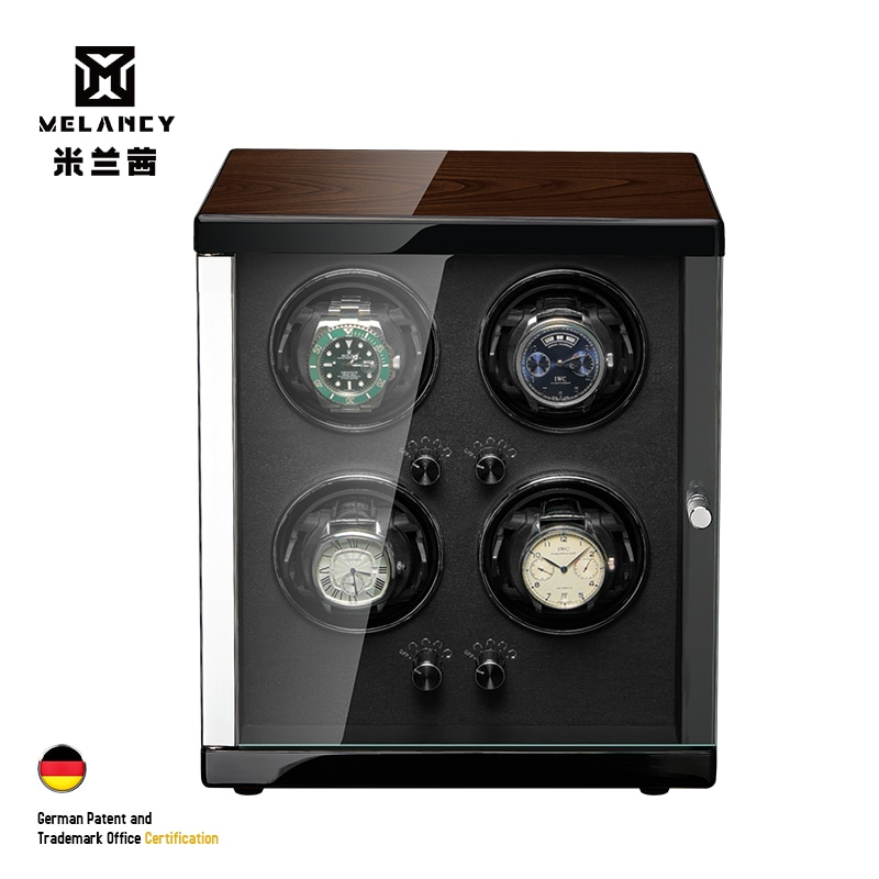 MELANCY Watch Winder for 4 Automatic Japanese Mabuchi Mute Motor LCD Digital Display Watch Wood Box Winder for Watches Boxes