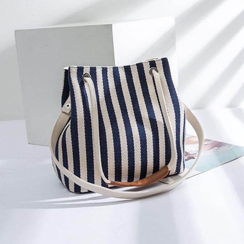 Nuevo bolso de hombro de lona a rayas Simple de verano para mujer 2019 moda Casual para damas bolso de mano de viaje bolsa femenina