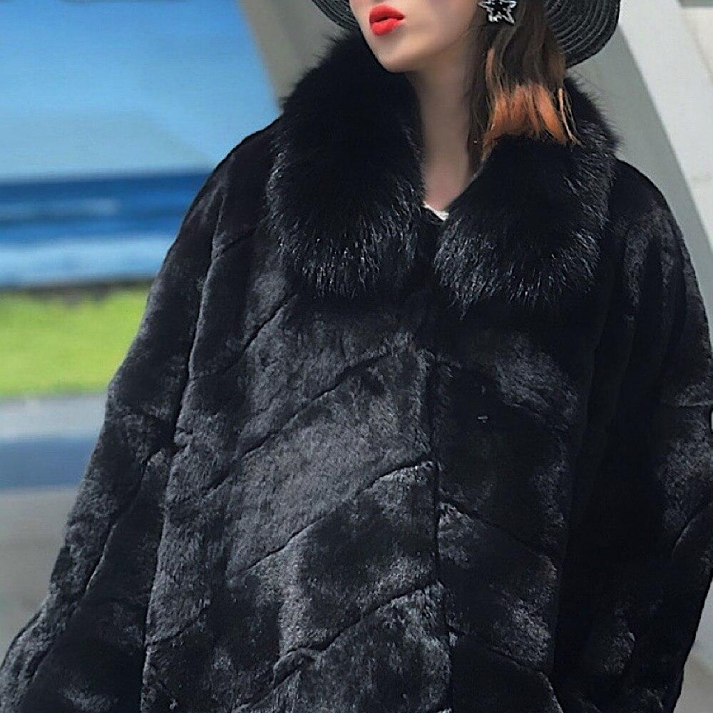 معاطف نسائية من فرو الأرانب ريكس الحقيقي لعام 2021 مع ياقة على شكل طية صدر السترة جلد طبيعي كامل حقيقي فضفاض معطف طويل من فرو الأرانب ريكس