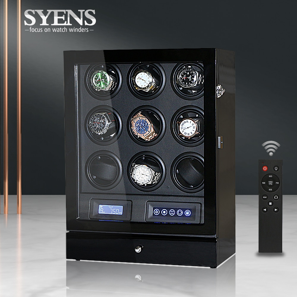 Luxury Automatic watch winder 9 watches box with Black color and TPD contorl mode Wooden watch shaker display Winding box