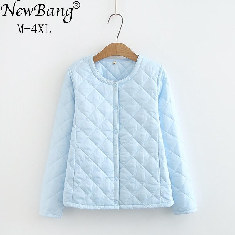 NewBang 4XL حجم كبير خفيفة الوزن القطن معطف المرأة شتاء دافئ بطانة طوق معطف مع سستة الإناث ضئيلة السترات