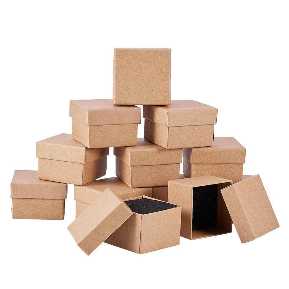 Картонные коробки для украшений, прямоугольные квадратные подарочные коробки с губкой внутри для упаковки колец, ожерелий, 24 шт.