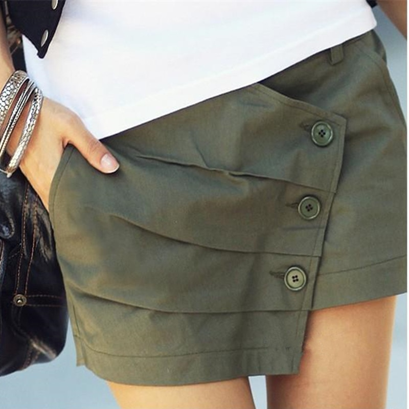 Women Shorts Spring Summer Autumn Female Mid Shorts Summer Europe Style Women Casual Green Shorts Skirts Plus size 26 - 36  S447
